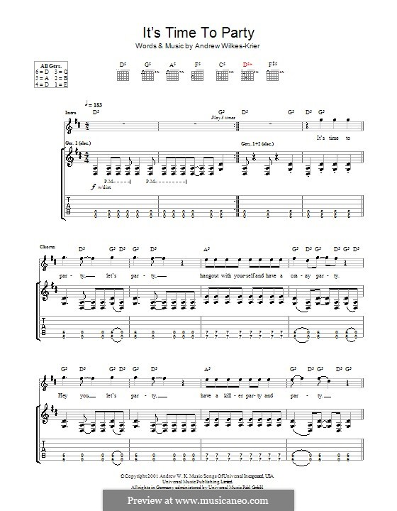 It's Time to Party: For guitar with tab by Andrew Wilkes Krier