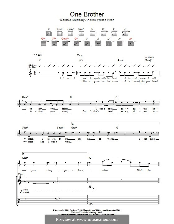 One Brother: For guitar with tab by Andrew Wilkes Krier