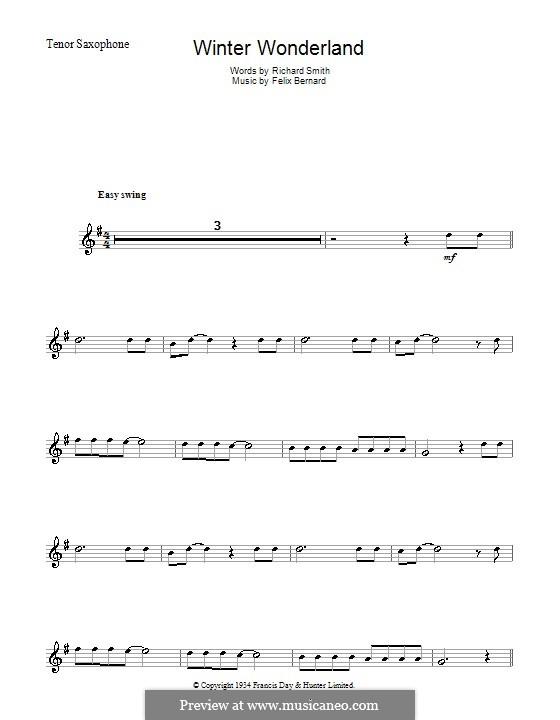Winter Wonderland: For tenor saxophone by Felix Bernard