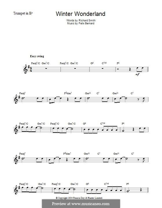 Winter Wonderland: For trumpet by Felix Bernard