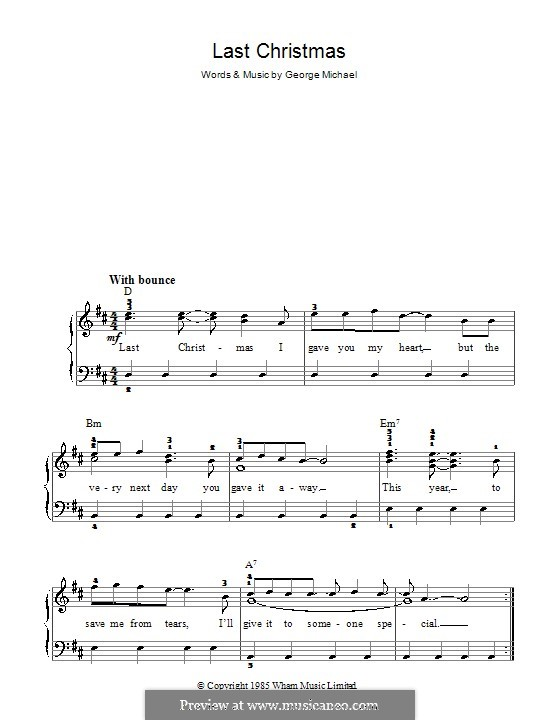 Last Christmas (Wham!): For easy piano by George Michael