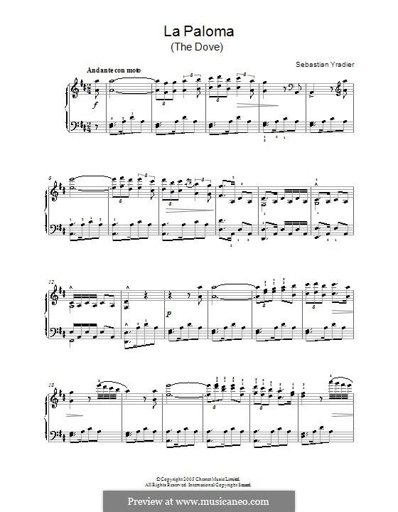 La Paloma (The Dove): For piano by Sebastián Yradier