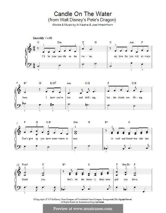 Candle on the Water (from Walt Disney's Pete's Dragon): For easy piano by Al Kasha, Joel Hirschhorn