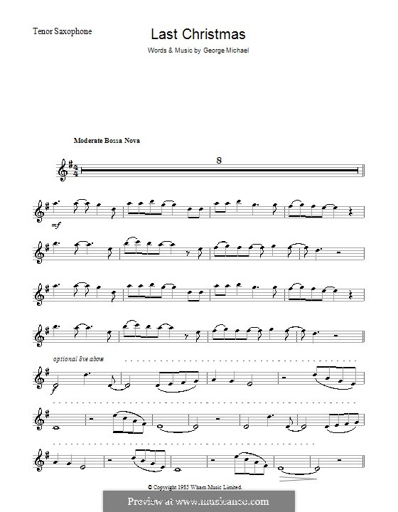 Last Christmas (Wham!): For tenor saxophone by George Michael