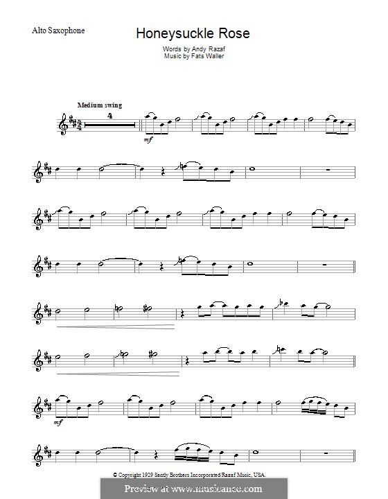 Honeysuckle Rose: For alto saxophone by Fats Waller