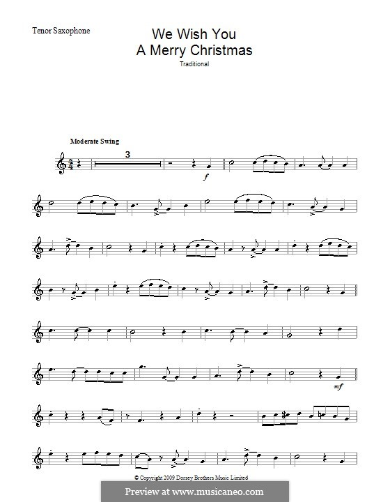 We Wish You a Merry Christmas (Printable Scores): For tenor saxophone by folklore