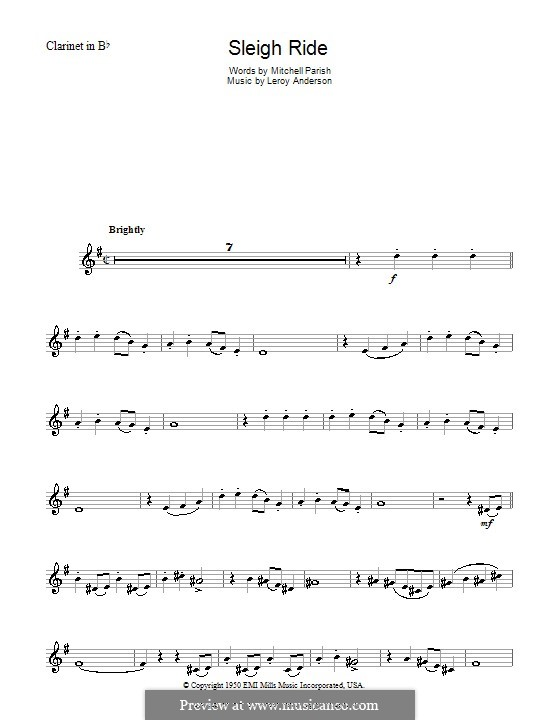 Sleigh Ride: For clarinet by Leroy Anderson
