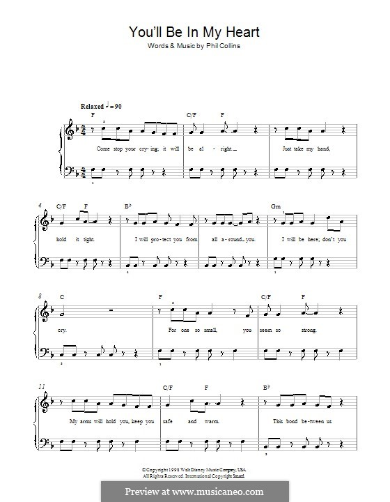 You'll Be in My Heart (from Walt Disney's Tarzan): For easy piano by Phil Collins