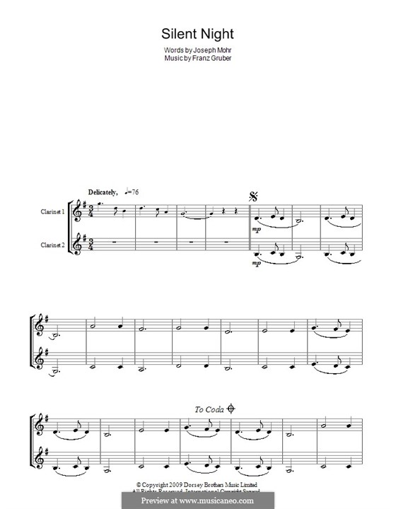 Silent Night (Printable): For two clarinets by Franz Xaver Gruber