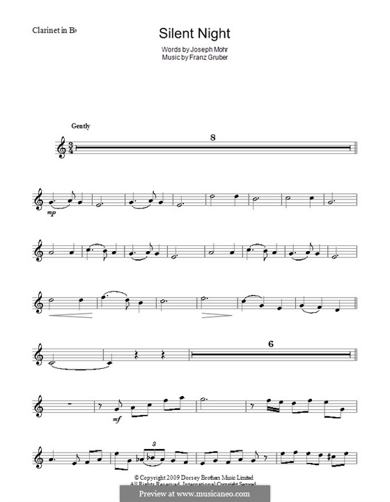 Solo instrument version (various): For clarinet in B by Franz Xaver Gruber