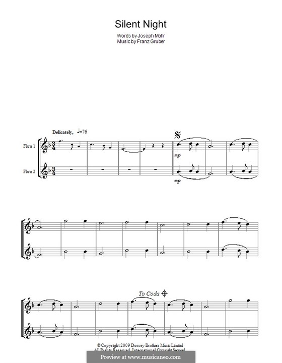 Silent Night (Printable): For two flutes by Franz Xaver Gruber