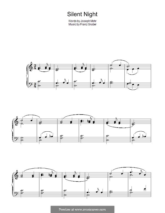 Silent Night For Piano By Fx Gruber Sheet Music On Musicaneo