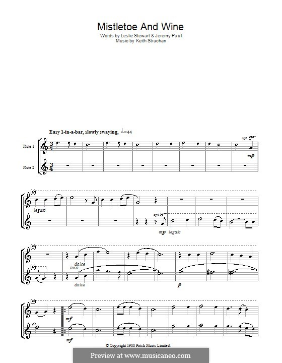 Mistletoe and Wine (Cliff Richard): For two flutes by Keith Strachan