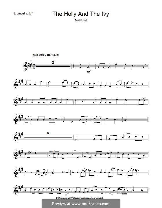 The Holly and the Ivy: For trumpet by folklore