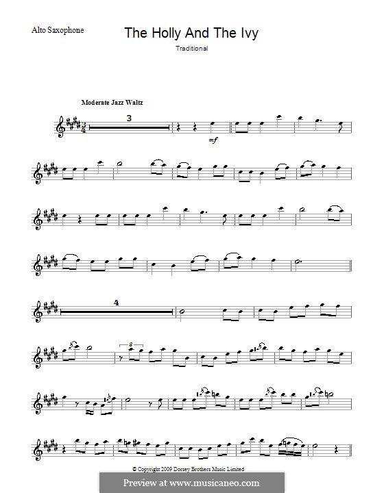 The Holly and the Ivy: For alto saxophone by folklore