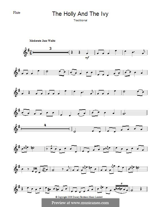 The Holly and the Ivy: For flute by folklore