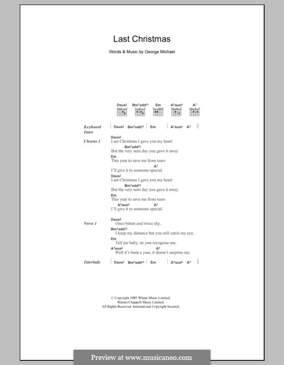 Last Christmas (Wham!): Lyrics and chords by George Michael