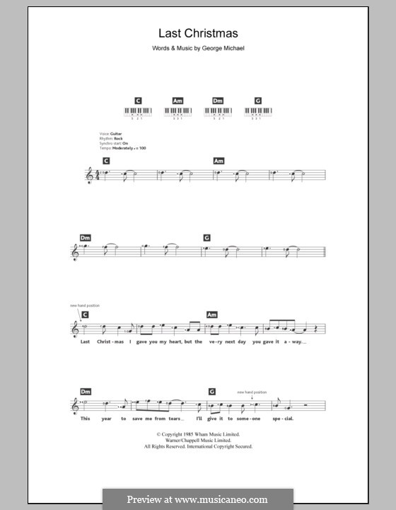 Last Christmas (Wham!): For keyboard by George Michael