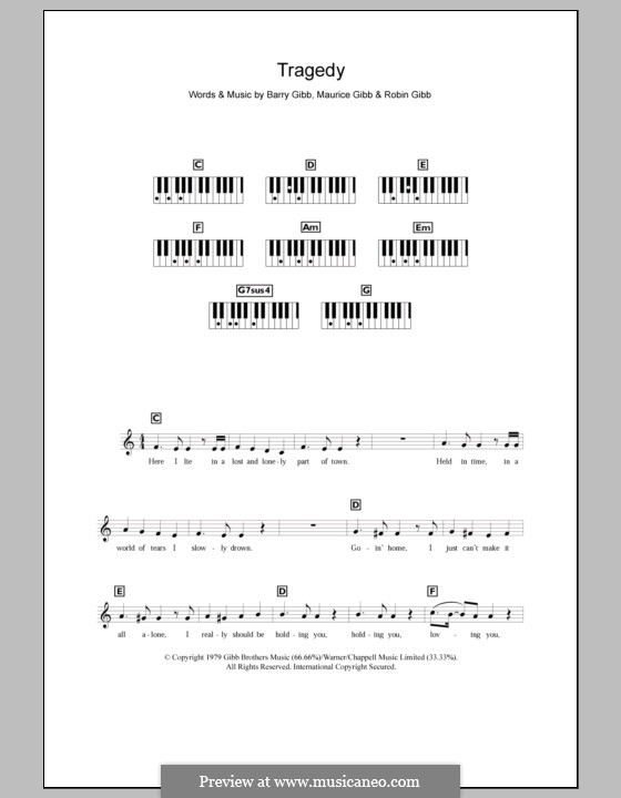 Tragedy (The Bee Gees): For keyboard by Barry Gibb, Maurice Gibb, Robin Gibb