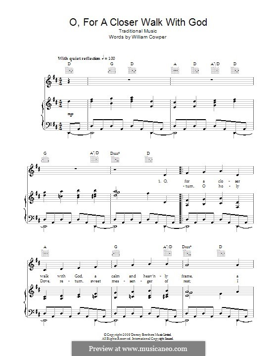 O, for a Closer Walk with God: For voice and piano (or guitar) by folklore