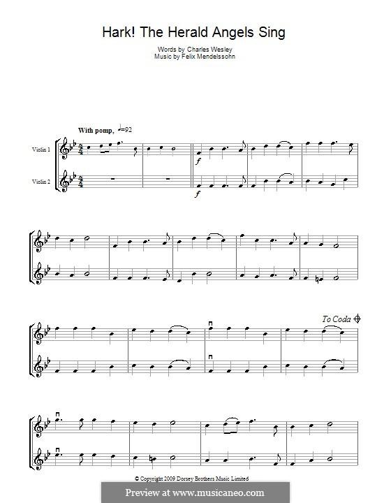Instrumental version: For two violins by Felix Mendelssohn-Bartholdy