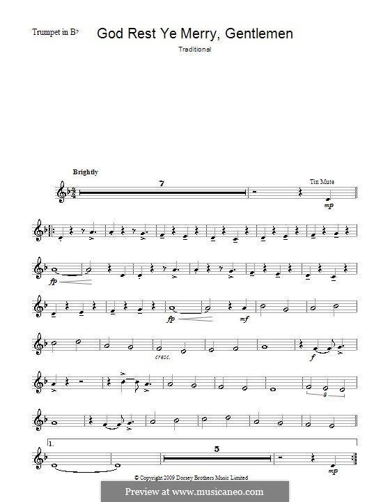 God Rest You Merry, Gentlemen (Printable Scores): For trumpet by folklore