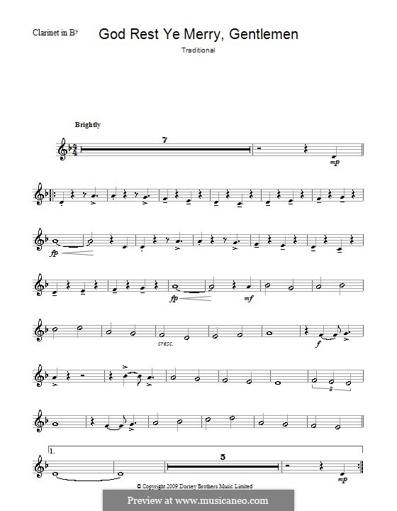 God Rest You Merry, Gentlemen (Printable Scores): For clarinet by folklore