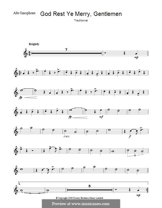 God Rest You Merry, Gentlemen (Printable Scores): For alto saxophone by folklore