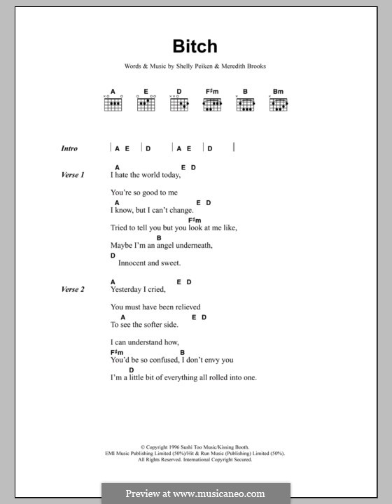 Bitch: Lyrics and chords by Meredith Brooks, Shelly Peiken
