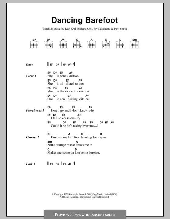 Dancing Barefoot: Lyrics and chords by Ivan Kral, Jay Daugherty, Patti Smith, Richard Sohl