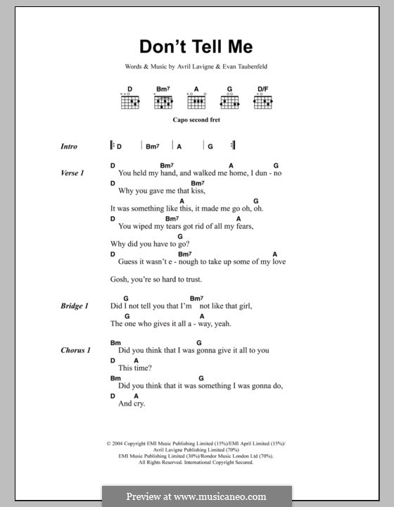 Don't Tell Me (Avril Lavigne): Lyrics and chords by Evan Taubenfeld