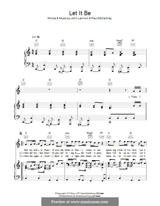 Let it Be (The Beatles): For voice and piano or guitar (high quality sheet music) by John Lennon, Paul McCartney