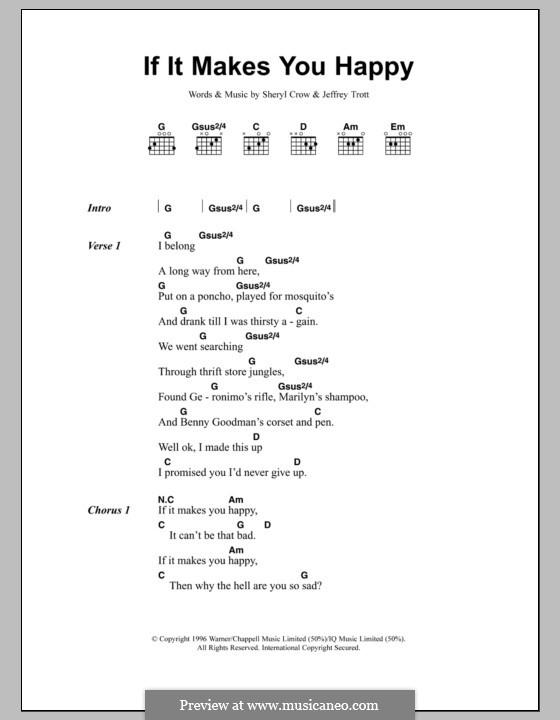 If It Makes You Happy: Lyrics and chords by Jeffrey Trott, Sheryl Crow