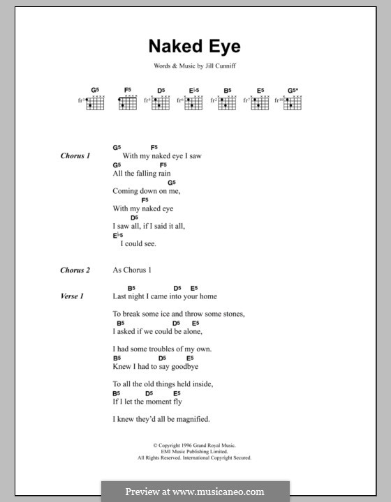 Naked Eye (Luscious Jackson): Lyrics and chords by Jill Cunniff