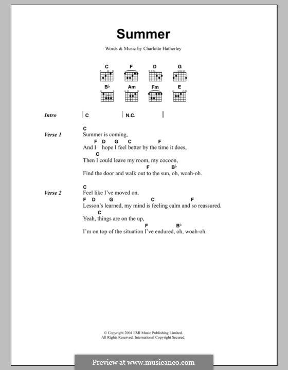 Summer: Lyrics and chords by Charlotte Hatherley