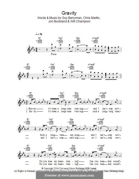 Gravity (Embrace): Melody line, lyrics and chords by Chris Martin, Guy Berryman, Jonny Buckland, Will Champion