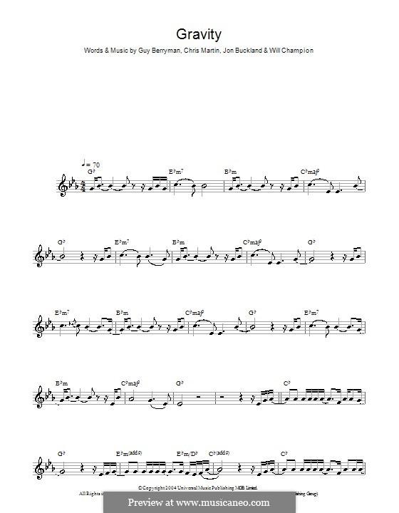 Gravity (Embrace): For saxophone by Chris Martin, Guy Berryman, Jonny Buckland, Will Champion