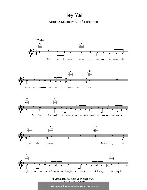 Hey Ya Outkast By A Benjamin Sheet Music On Musicaneo