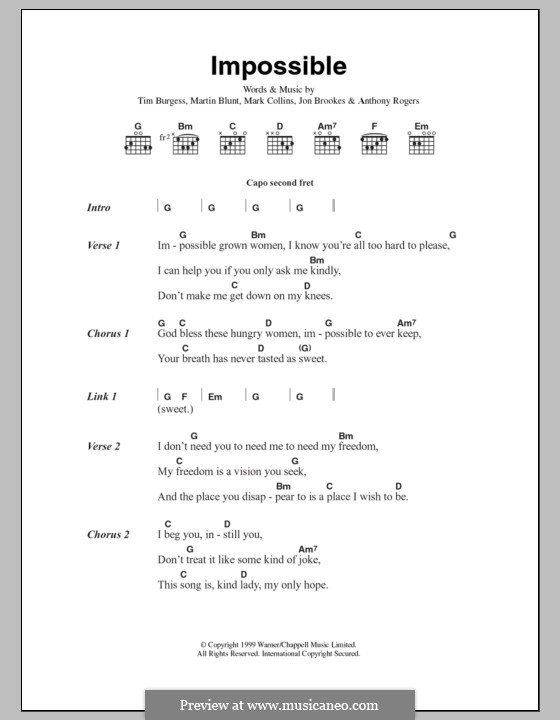 Impossible (The Charlatans): Lyrics and chords by Anthony Rogers, Jon Brookes, Mark Collins, Martin Blunt, Tim Burgess