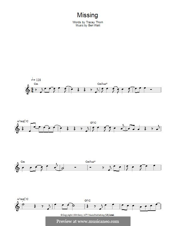 Missing (Everything But the Girl): For saxophone by Benjamin Watt