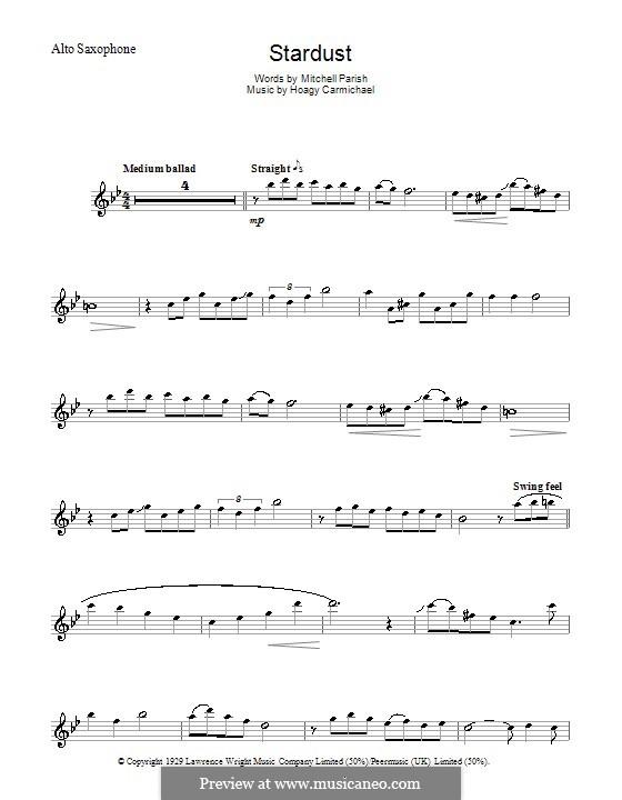 Stardust (Frank Sinatra): For alto saxophone by Hoagy Carmichael