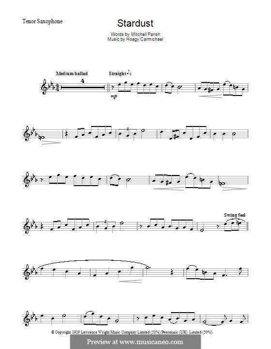 Stardust (Frank Sinatra): For tenor saxophone by Hoagy Carmichael