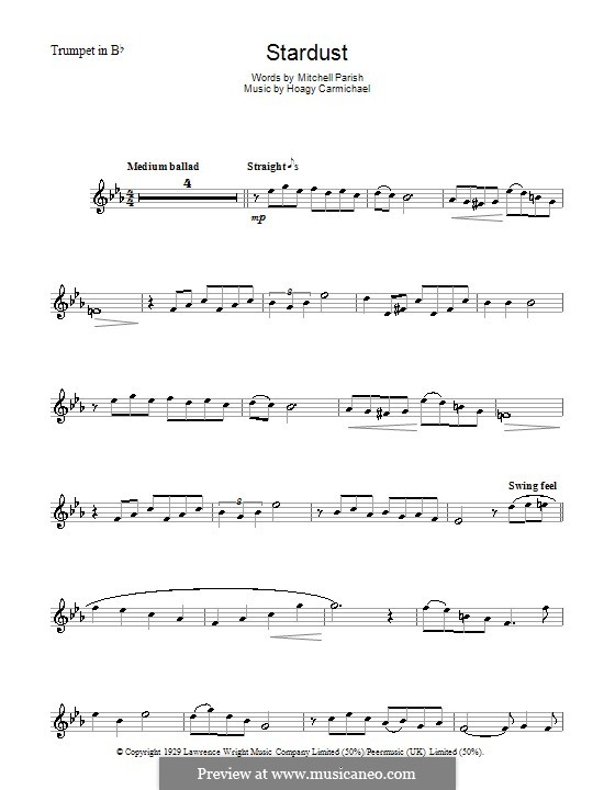 Stardust (Frank Sinatra): For trumpet by Hoagy Carmichael