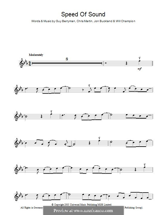 Speed of Sound (Coldplay): For violin by Chris Martin, Guy Berryman, Jonny Buckland, Will Champion