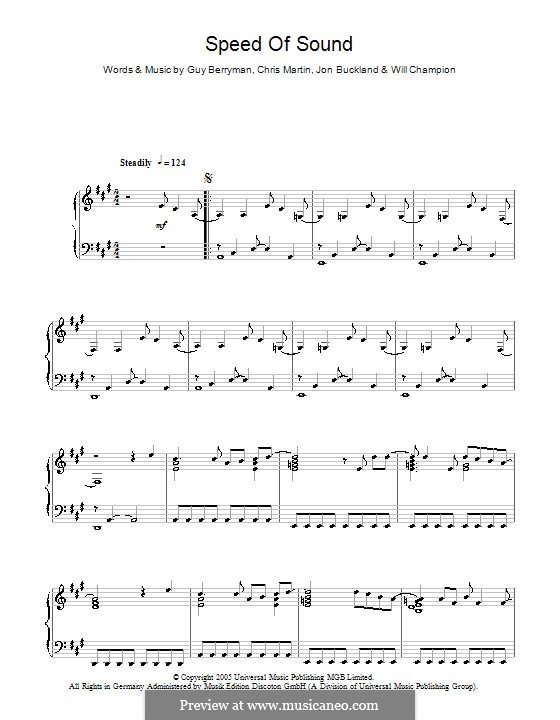 Speed of Sound (Coldplay): For piano by Chris Martin, Guy Berryman, Jonny Buckland, Will Champion