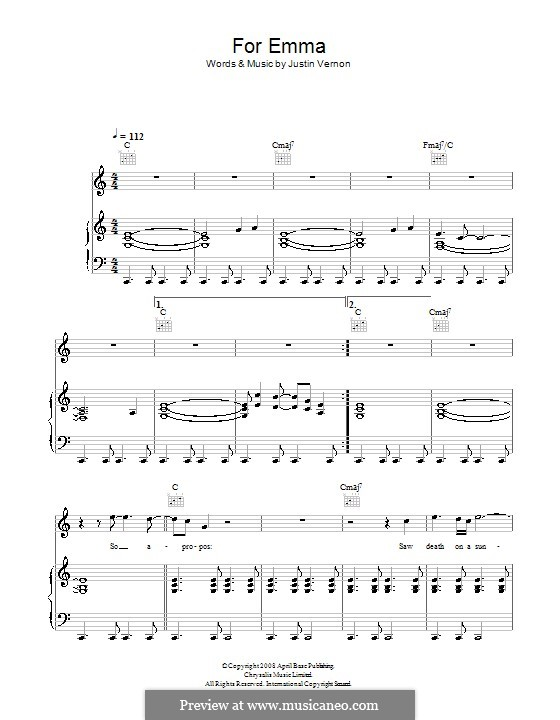 For Emma (Bon Iver): For voice and piano (or guitar) by Justin Vernon