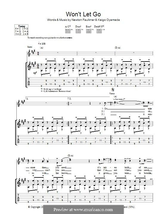 Won't Let Go: For guitar with tab by Keigo Oyamada, Newton Faulkner