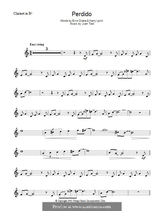 Perdido (Duke Ellington): For clarinet by Juan Tizol