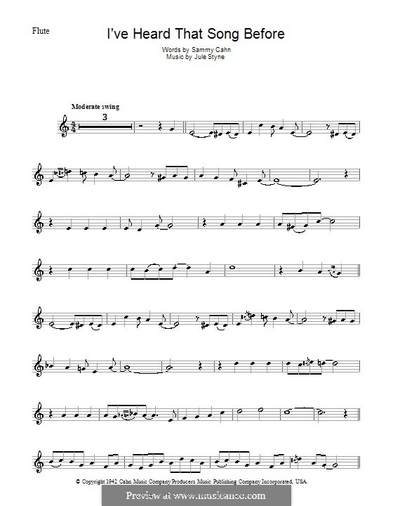 I've Heard That Song Before (Harry James): For flute by Jule Styne