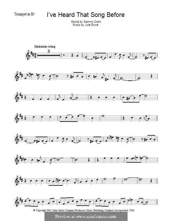 I've Heard That Song Before (Harry James): For trumpet by Jule Styne